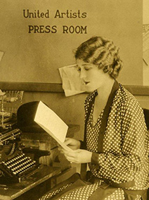 Mary Pickford reading in United Artists Press Room