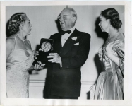 Mary Pickford is presented with a 'George' award; Lillian Gish on the right - 1955