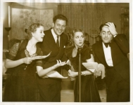 Ida Lupino, Carl Bresson, Mary Pickford and Francis Lederer perform the radio version of One Rainy Afternoonat Pickfair - 1936