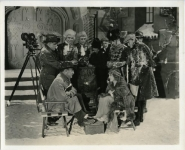 Mary Pickford breaking from dream sequence on the set of Suds with Charles Rosher, John Frances Dillon - 1920