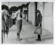 F.P. Lasky, Milton Hoffman, studio mgr. and Mary Pickford on the set of Stella Maris - 1918