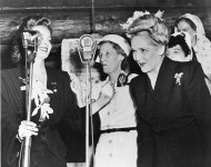 Mary Pickford onstage with Bette Davis at the Hollywood Canteen - 1944