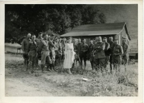 Mary Pickford with Army personnel on maneuvers - 1918
