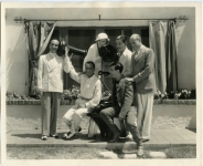 L to R: Al Jolson, Douglas Fairbanks, Mary Pickford, Ronald Colman, Sam Goldwyn and Eddie Cantor, sitting - 1932