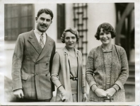 Original photo caption: Co-starred with Pickford and Talmadge. Hollywood, Calif. -- Alistair MacDonald, popular son of Britain's prime minister, enjoys the unusual distinction of being featured in a 'picture' with two high priestesses of the inner cinema circle -- none other than the Misses Mary Pickford and Norma Talmadge - 1930