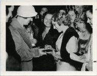 Mary Pickford swarmed by fans at Katherine Cornell opening L.A. Biltmore Theatre for The Barretts of Wimpole Street - 1934