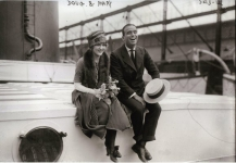 Mary Pickford and Douglas Fairbanks embark on their European honeymoon - 1920