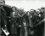Mary Pickford and Douglas Fairbanks greet visitors - 1923