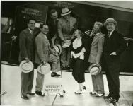 United Artists, L to R: Ed Finner, President MPPA; Hal Horne, publicist; Walt Disney; Al Lichtman, sales; Mary; Chaplin; Joseph Schenk, President U.A. - 1935