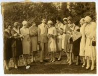 Visit by Will Hays to Pickfair -- Will Hays, Mary Pickford, Sue Carroll, Billie Dove - 1929
