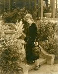 Mary Pickford in Pickfair garden with Zorro - 1920