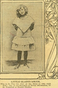 "MPF Scrapbook 5 detail - Little Gladys Smith in ""The Child Wife"""