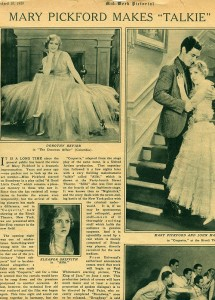 "Mary Pickford Makes ""Talkie"" - Article Clipping"