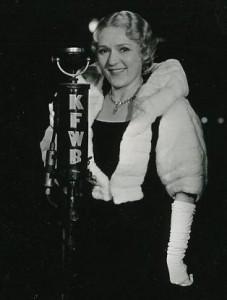 Mary Pickford at KFWB Radio Microphone