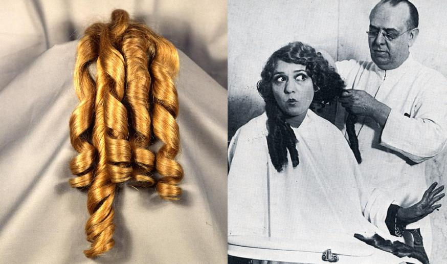 Mary Pickford's famous curls—five long golden ringlets from her 1928 bob