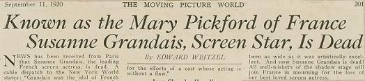 """Mary Pickford of France"" headline - Academy Scrapbook #21 detail"
