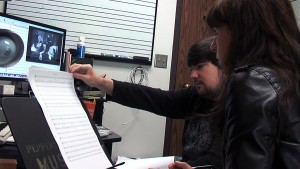 Missy Mazzoli working with composer Max Ginnell