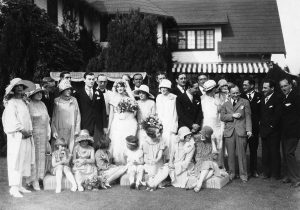 Pickfair - May 10, 1925. Wedding of Selmar Chalip and Verna Watson. Charlotte Pickford, Mary Pickford, Doug Fairbanks, Reverend Dodd, Jack Pickford, and Robert Fairbanks