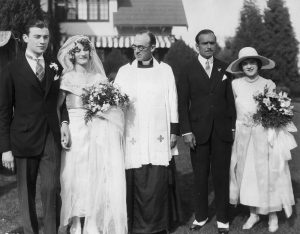 Pickfair - May 10, 1925. Wedding of Selmar Chalip and Verna Watson. Reverend Dodd, Doug Fairbanks, and Mary Pickford