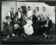 Mary Pickford and crew on the set of Johanna Enlists - 1918
