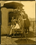 Mary Pickford with Charles Rosher and William Beaudine on the set of Little Annie Rooney - 1925