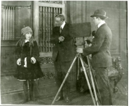 Mary Pickford with Maurice Tourneur and Lucien Androit on the set of The Poor Little Rich Girl - 1917