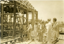 Mary, William Beaudine, Ed Newman, Tom McNamara, Jim Johnson and other crew building the Sparrows set - 1926