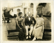 Mary Pickford, Douglas Fairbanks and Frank Case on the set of The Thief of Bagdad - 1924