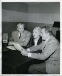 Mary Pickford and Buddy Rogers on 'Christmas Crusade' blood campaign. They join Virgil Pinkley on his 5:15 pm (KECA) prpgram on ABC radio network - 1952