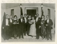 The wedding of Mary Pickford and Douglas Fairbanks, March 28, 1920. L to R: Charlie Chaplin, Edward Knoblock, Marjorie Daw, Robert Fairbanks, Jack Pickford, Charlotte Pickford, Mary Pickford, Douglas Fairbanks, Mrs. Robert Fairbanks, Benny Zidman - 1920