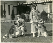 Mary Pickford, Douglas Fairbanks and dogs at Pickfair - 1920