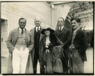 Douglas Fairbanks, Mary Pickford, Charlie Chaplin, D.W. Griffith, and Oscar Price, lawyer at Chaplin Studios - 1919