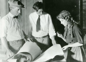 Tess of the Storm Country, Pickford Studio -- L to R: G.V. Kilgore, painting department; Frank Ormston, art director; Mary Pickford.