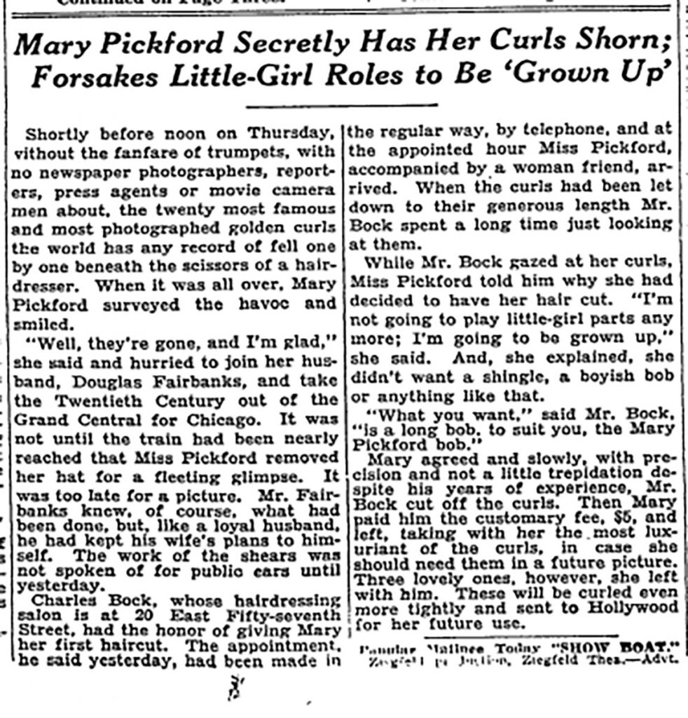 "Mary Pickford - New York Times ""Secretly Has Her Curls Shorn"""