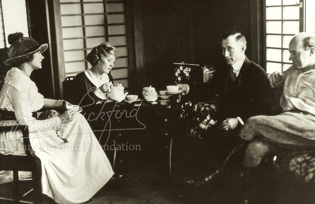 Frances Marion, Mary Pickford, Adolph Zukor and DeMille in conference