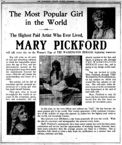 Mary Pickford Daily Talks article scan