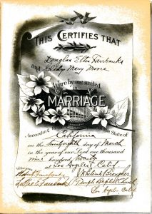 Mary and Doug Wedding Certificate