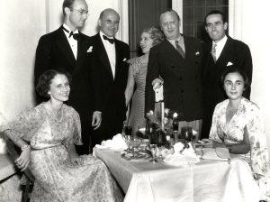 From left to right: Frances Goldwyn, John Abbott, Sam Goldwyn, Mary Pickford, Jesse Laky, Harold Llyod, Iris Barry