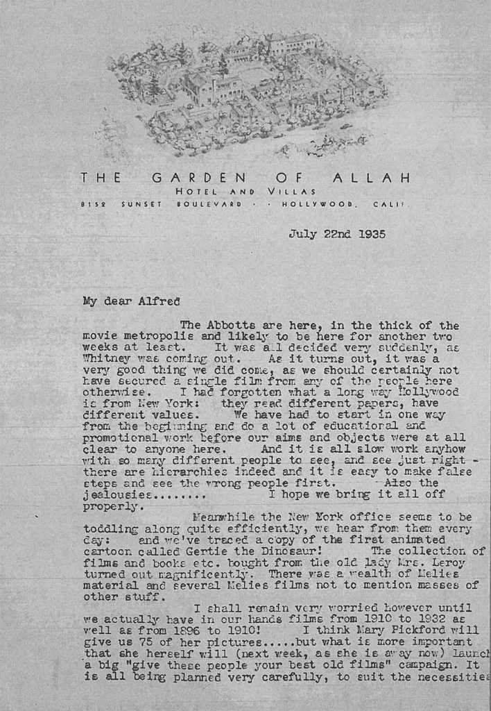 Iris Barry Letter, 1935 - from the MoMA collection
